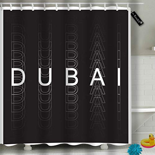 Randell Bathroom Shower Curtain Black Cat Bat Quote Bad Luck Happy Halloween Waterproof Fabric Shower Curtain 60(W) X 72(L) Inches for Men Women Kids -