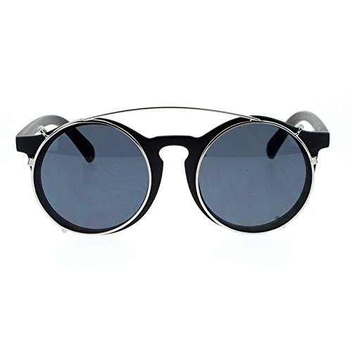 SA106 Clip On Round Circle Lens Retro Keyhole Glasses Sunglasses Black - Round On Clip Sunglasses