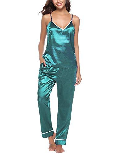 (Tongzone Women's Satin Pajama Pants & top Set/2 Piece PJ Matching Top and Long Pants (M,)