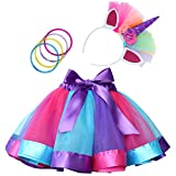 Rainbow Tutu Dress Birthday Outfit for Little Girls with Headband and Bracelets (Purple+Blue+Rose...