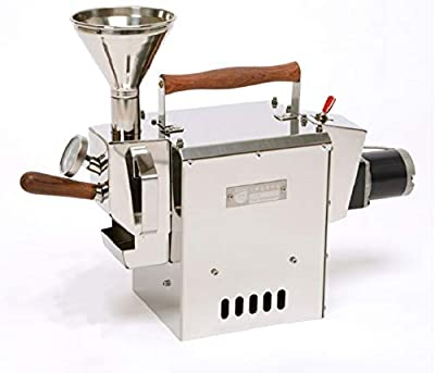 KALDI Wide (300g) Home Coffee Roaster Motorize Type Full Package Including Thermometer, Hopper, Exhaust Adapters and Corrugated Tube (Gas Burner Required)