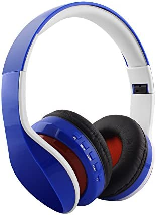 Gacho Foldable, Wireless Headphone, Lightweight Headset with Soft Memory-Protein Earmuffs Blue
