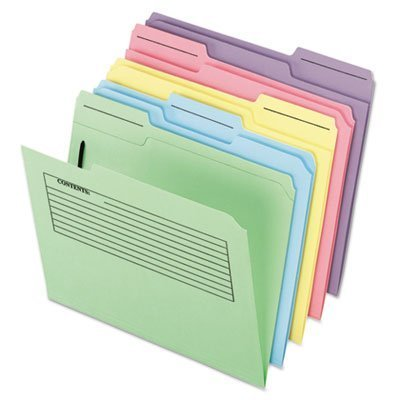 Pendaflex Printed Notes Folder - Letter - 8.5 x 11 - 1/3 Cut Tab on Assorted Position - 1 Fastener - 30 / Pack - 11pt. - Assorted by Pendaflex ()