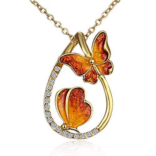 MYANAIL Colorful Double Butterfly with Waterdrops Pendant Necklace for Girls (Orange)