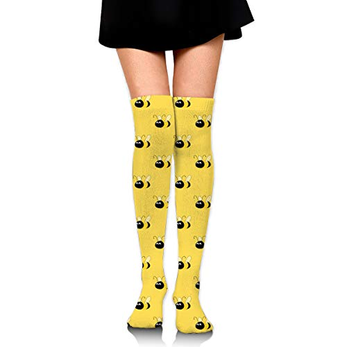 MFMAKER Women Girls Cheerleader Over The Knee Plus Size Long Cotton Stretchy Thigh Stockings Yellow Bees High Tube Socks ()