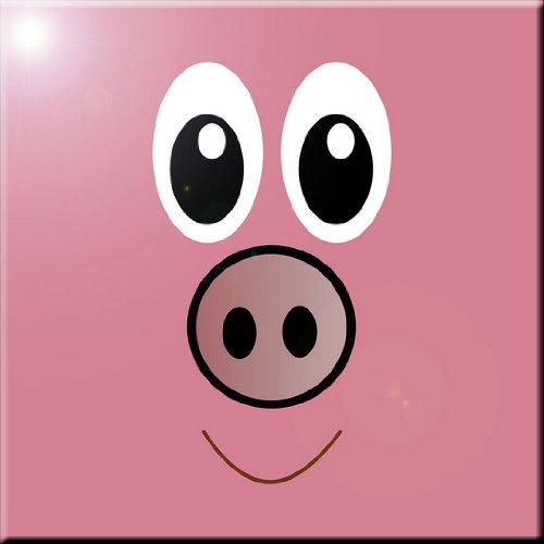 Rikki Knight Pig Cartoon Face Design Art Ceramic Tile 4 by 4-Inch