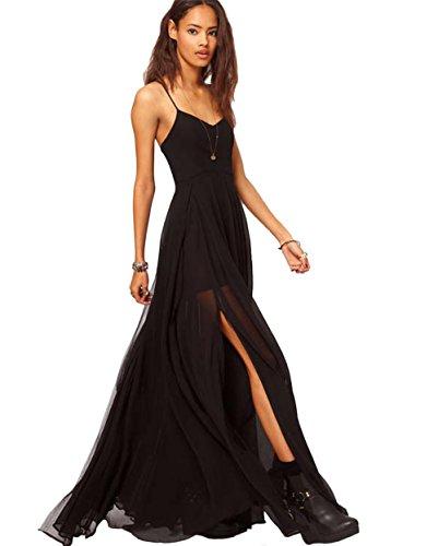 Womens Fashion Casual Chiffon Long Slip Maxi Dress (Black) - 1