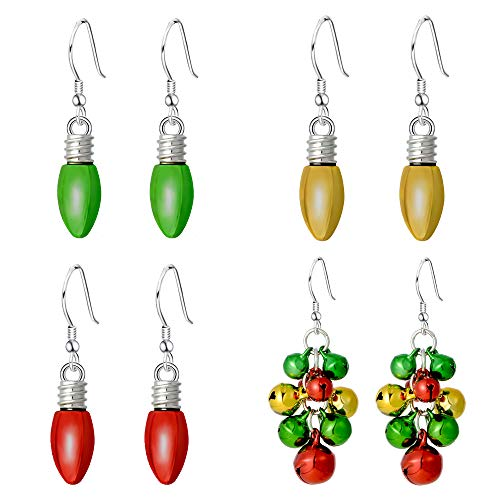 - Christmas Bell Jingle Light Bulb Drop Teardrop Dangle Earrings for Women Girls - Multicolor Xmas Festive Holiday Jewelry Set Earrings Gifts (4 Pairs)