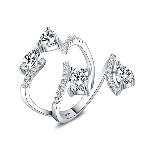 (Citled Sterling Platinum Cocktail Ring Diamond Accent Statement ring and Gemstone CZ Ring For Women Adjustable Size 5-7)