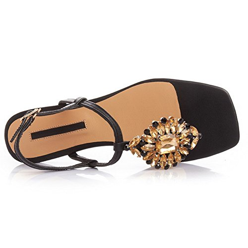 AllhqFashion Womens Square Open Toe Cow Leather Solid Sandals with Glass Diamond Black Ddf5TzTeT