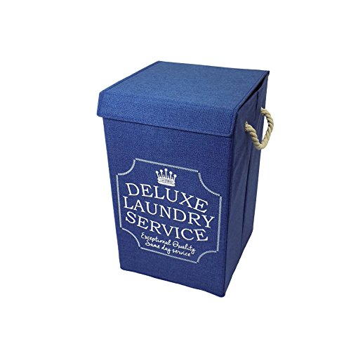 DELUXE LAUNDRY NAVY BLUE WHITE CARRYING FOLDAWAY BAG HAMPER 31 X 31 X - Hamper Deluxe