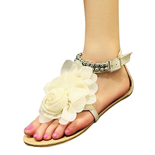 Shoes Flip size Gladiator for Bohemia Women Flat Beaded Beige Female Sandals Summer Sandals 4 flop Women Flower SODIAL Flats beige SfxqOq