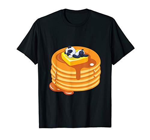 Baby Panda Resting On Top Of Pancakes Cute Baker T-Shirt