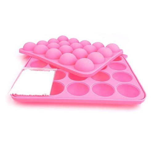 Foxnovo 20-Hole Lollipop Shaped Soft Silicone DIY Chocolate Ice Candy Cake Jelly Baking Mould Mold Tray Set (Pink)