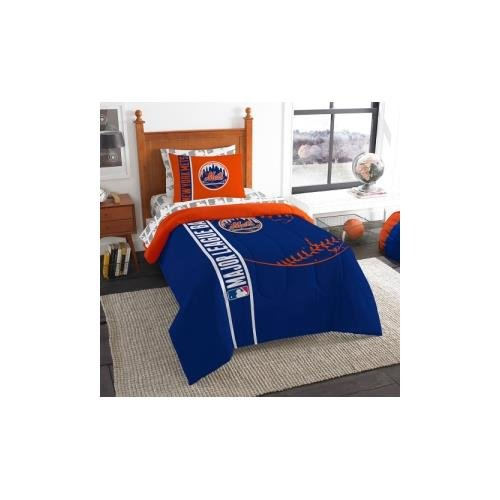 The Northwest Company MLB New York Mets Soft & Cozy 5-Piece Twin Size Bed in a Bag Set New York Mets Sham
