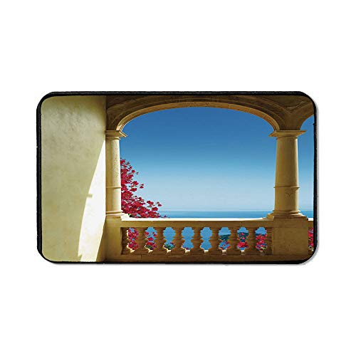 Patio Decor Wristband Mouse Pad,Ancient Balcony with View to Mediterranean Sea Bougainvillea Majorca for Home Desk Computer Desk,15.75''Wx23.62''Lx0.12''H