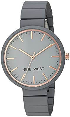 Nine West Women's NW/2012GYRG Rubberized Bracelet Watch