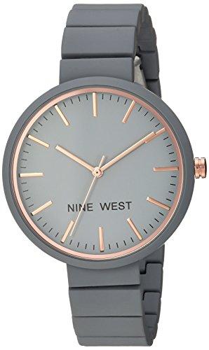 Nine West Women's NW/2012GYRG Matte Grey Rubberized Bracelet Watch