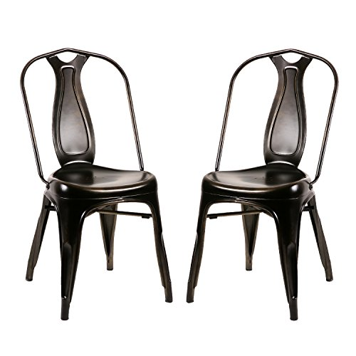 """Merax PP036327BAA_FBA Metal Indoor-Outdoor Distressed Style Chic Cafe Bistro Dining Side Chair,Set of 2 (Antique Bronze Black), 20""""L X 17""""W X 34""""H"""
