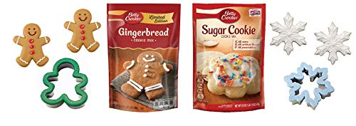 LIMITED EDITION Betty Crocker Gingerbread Cookie Mix and Sugar Cookie Mix Bundle (Best Gingerbread Cookie Mix)