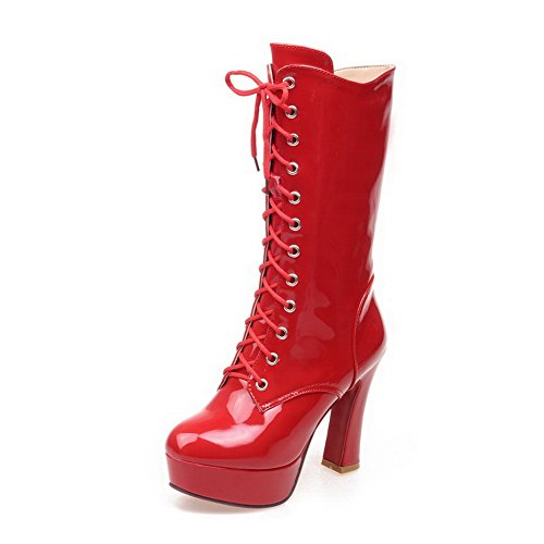 1TO9 Womens Solid Zipper Pointed-Toe Viscose-Rayon Boots Red VPcdQdDFVr