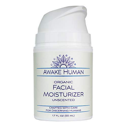 Organic Face Moisturizer - Natural Anti Aging Wrinkle Cream - Aloe, Jojoba, Green Tea, Shea Butter, Sweet Almond - Natural Facial Moisturizer - Preservative Free Face Cream - Awake Human - Unscented