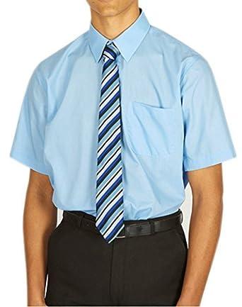 c07a48bc6 MENS BOYS SCHOOL UNIFORM LONG / SHORT SLEEVES PLAIN BLUE WHITE SHIRTS:  Amazon.co.uk: Clothing