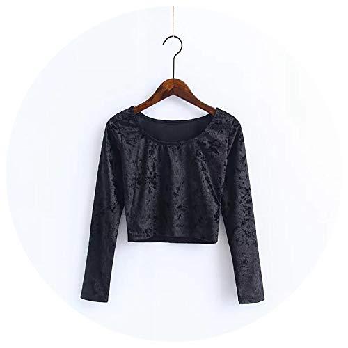 Women O Neck Velvet Crop Tops All Match Long Sleeve Slim Velvet T-Shirts,Black,S
