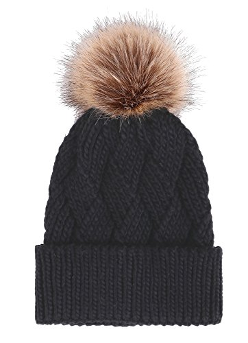 Arctic Paw Women's Diamond Weave Knit Beanie With Faux Fur Pompom, Black