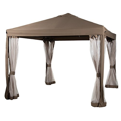 Abba Patio 10 x 10 Feet Gazebo Soft Top Fully Enclosed Garden Canopy with Mosquito Netting, Canvas Aruba