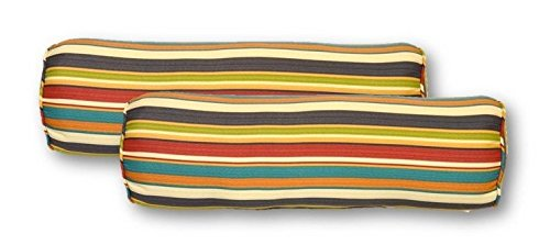 Resort Spa Home Decor Set of 2 - Indoor/Outdoor Jumbo, Large, Over-Sized, Bolster/Neckroll/Decorative Pillows - Draw The Line Fiesta~ Green Red Teal Striped with Self Cording