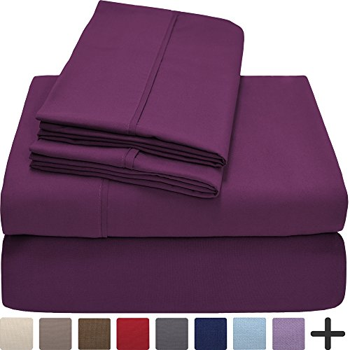 Set Plum (Premium 1800 Ultra-Soft Microfiber Collection Sheet Set - Double Brushed - Hypoallergenic - Wrinkle Resistant - Deep Pocket (Cal King, Plum))