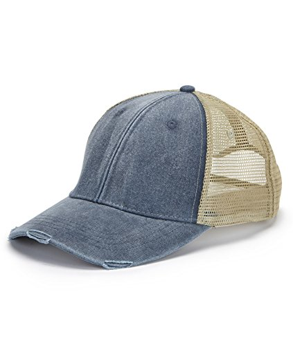 Adams mens 6-Panel Pigment-Dyed Distressed Trucker Cap(OL102)-NAVY/ TAN-OS (Cap Pigment Dyed Solid Twill)