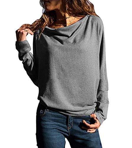 Gavemenget Primavera e Autunno Donne Tops Casual Maglie a Manica Lunga T-Shirts Blouse Maglioni Camicia Tinta Unita Maglietta Bluse Tees Felpe Jumper Grigio