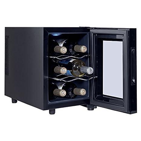 6 Bottles Thermoelectric Wine Cooler Fridge Refrigerator Freestanding Cellar Rack Storage Holder Cabinet Chiller Home Restaurant