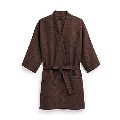 Weddingstar K42054-26 Waffle Kimono Robe, Chocolate Brown