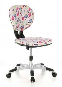 hjh OFFICE 670270 BILLY KID Flowers & Hearts Silla para niños y silla giratoria, tejido rosa