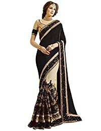 Nivah Fashion Women's Satin & Net Embroidery Saree with Blouse Piece(K663)