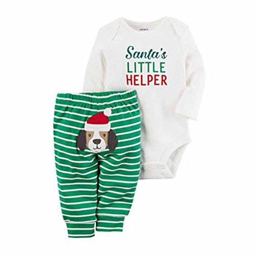 Carter's Baby My 1st Christmas Little Helper 2 Piece Bodysuit Pants Set (12 Months, Green) -