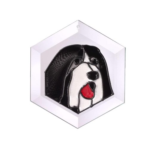 Bearded Collie Painted/Stained Glass Suncatcher (Ew-193)