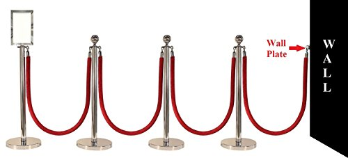 "Apex Luxury Series Crown Top Chrome Stainless Steel Stanchion Post 4 Pcs With 72"" Black Braided Rope 4 Pcs, 11"" x 17"" Premium Sign Frame and Wall Plate by Apex (Image #8)"