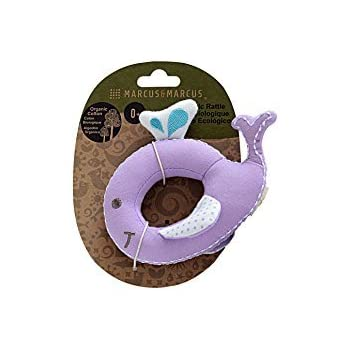 MARCUS&MARCUS Cotton Baby Rattle with Squeaky Sound | 100% Certified Organic Infant Sensory Toy | Purple