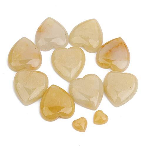 JJG 10pcs 25x25mm Heart Shape Natural Stone Cabochons Flatbacks Yellow Aventurine Gemstone Dome - Cabochon Gems Aventurine