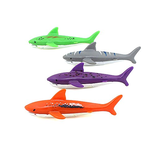 Diving Toy for Pool Use Gliding Shark Throwing Torpedo Underwater ,Swimming pool shark 4Pcs/Lot (Pool Shark Swimming)