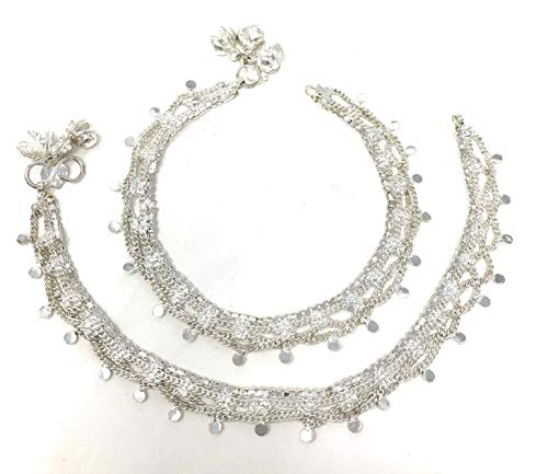 (Indian Pakistani Bridal Ethnic Payal Silver Tone Anklet Pair Lace Filigree with Loud Bells)