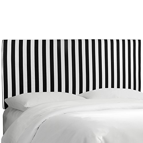 Skyline Canopy - Skyline Furniture Upholstered Canopy Stripe Headboard, Black/White, Queen