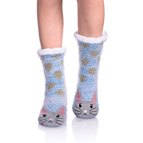 (NOVCO Womens fuzzy Cozy Cute Cartoon Animal Non-Slip Winter Thermal Slipper Socks (Rabbit 02))