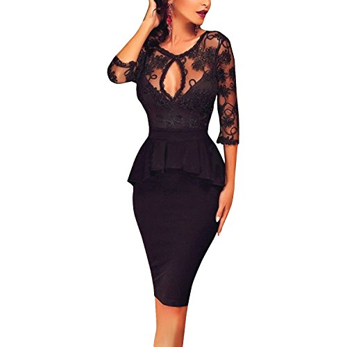Inshine Women Lace Perspective See Through Peplum Club Party Cocktail Dresses Large