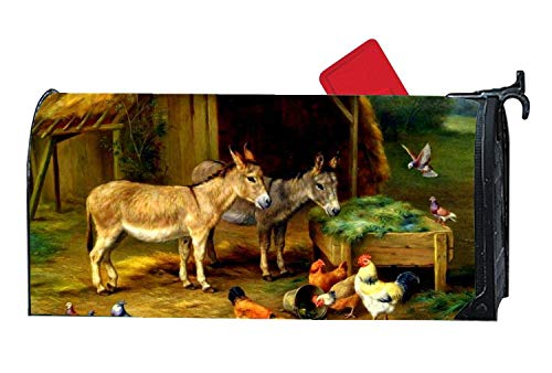 Cute Farm Roosters Chickens Donkeys Mailbox Makover Cover - Vinyl witn Full Magnetic for Steel/Metal Standard Mailbox, 6.5 x 19 Inches