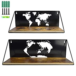 Wall Shelves with World Map Cutout Wall Mount Shelf Storage Shelves for Living Room, Set of 2